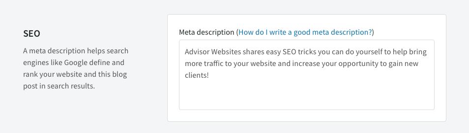 Advisor Websites SEO Blog - Meta Description