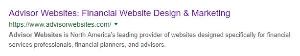 Advisor Websites SERP Snippet