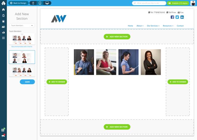 Advisor Websites Force - layout customizer - inside page