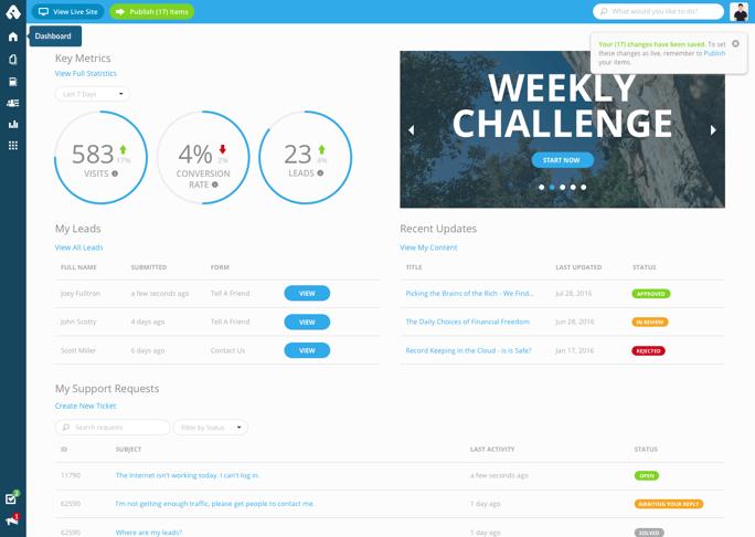 Advisor Websites Dashboard - Website Builder for Financial Services