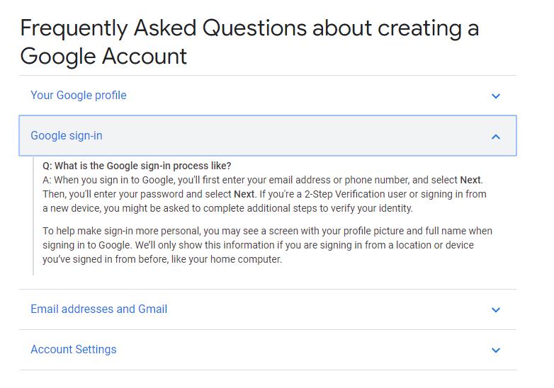 Google's FAQ page - Drop-down example