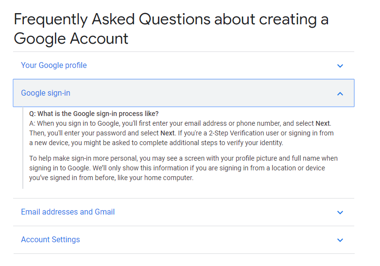 Google's FAQ page - Drop-down example