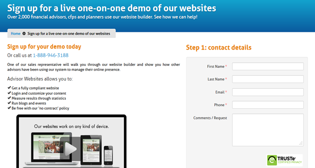 advisor websites landing page example
