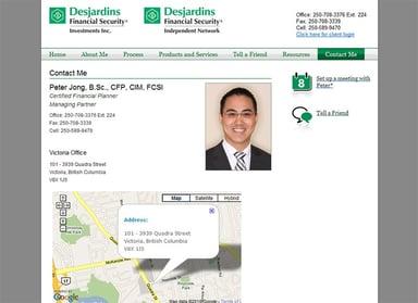 peter jong desjardins financial advisor website contact