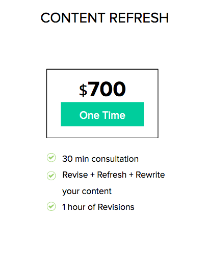 pricing for content refresh