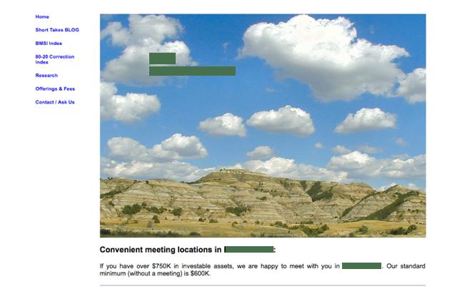 bad example of website design strategies for financial advisors