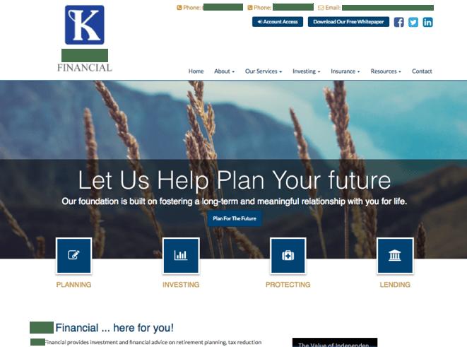 good example of website design strategies for financial advisors
