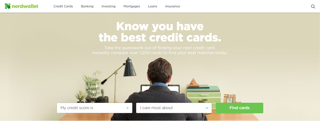 NerdWallet homepage and navigation bar.