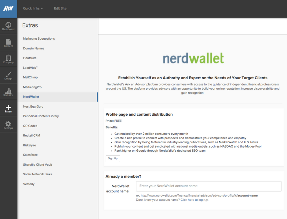 Add NerdWallet to your Extras on your Advisor Websites' website.